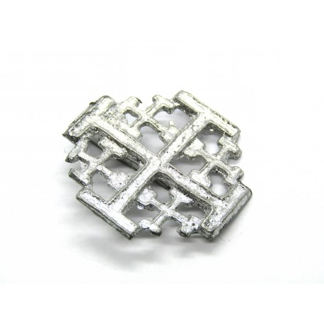 Jerusalem cross pewter badge
